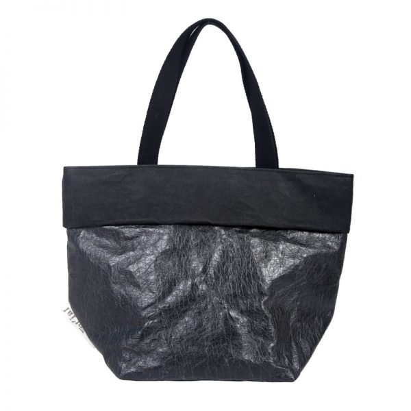 saccaccio bag in carta nero effetto glossy